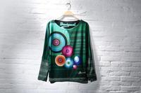 free shipping women thin long sleeved print Beaded bat sleeve T-shirt (no price label)
