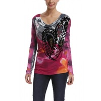 free shipping The new woman's personality printing pile collar long sleeved T-shirt