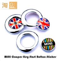 3D emblem car start button stickers, MINI aluminum alloy key start decals stickers Mini Cooper Cluman Countryman