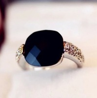 The order of at least $10(mixed order) D107 latest retro black agate stone crystal ring wholesale free shipping!!