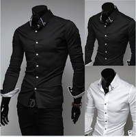 Free Shipping ! 2013 spring autumn New Fashion Casual  long-sleeved men's shirts Korean Leisure styles cotton shirt M-XXL
