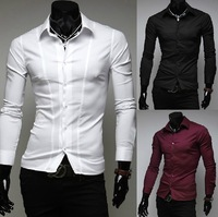 Free shipping 2013 autumn new men fashion simple Korean Slim long-sleeved shirts, business casual dress shirts