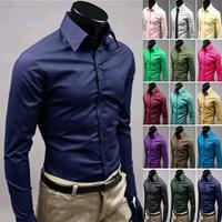 UYUK Men's Pure Color Shirts Mens Slim Fit High Quality Dress Shirt 17 Colors Size M XXXL