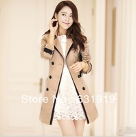 hot sales 2013 new autumn winter women's wool coat slim medium-long wool jacket outerwear plus size long designer jackets women