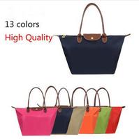 2014 Hot selling Women's Nylon Genuine Leather Cosmetic Bag Nylon Handbag Folding Brand Handbags women Messenger Bags