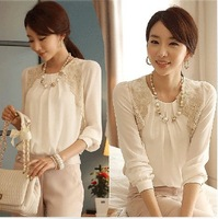 New 2014 Fashion Women Blouses Hot Selling Autumn-Summer Chiffon Blouse Lace Tops Shoulder Pad Lace Shirt Woman Clothes E423