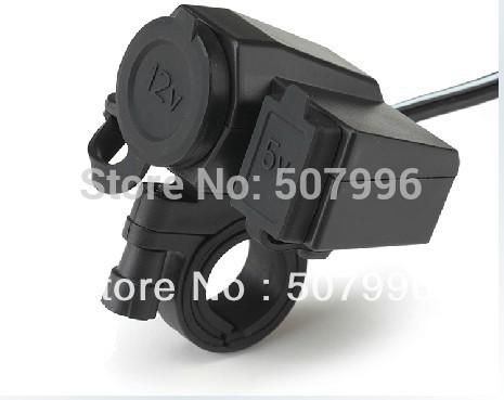Free shipping New Motorcycle 12V USB Cigarette Lighter Power Port Integration Outlet Socket 5v usb power charge socket D-961(China (Mainland))
