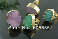 18k Gold Plated Drusy Geode Quartz Agate Rings Fashion Jewerly  Free Shipping 5 pc per lot