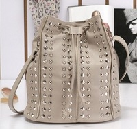 free shipping European fashion hot rivet gossip girl drawstring rivet Bucket Bag Shoulder bag  new 2013 women messenger bags
