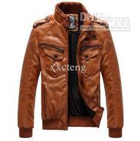 Men's Locomotive Leather Jacket Coat Thickening Fur Outerwear Slim Winter Jacket Brown