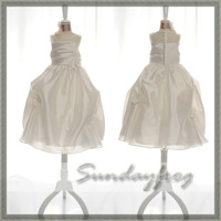 2014 Real Photo Free Shipping Custom Made A-Line Flower Girl Dress Pick-ups Flowers First Communion Dress  -FL12337