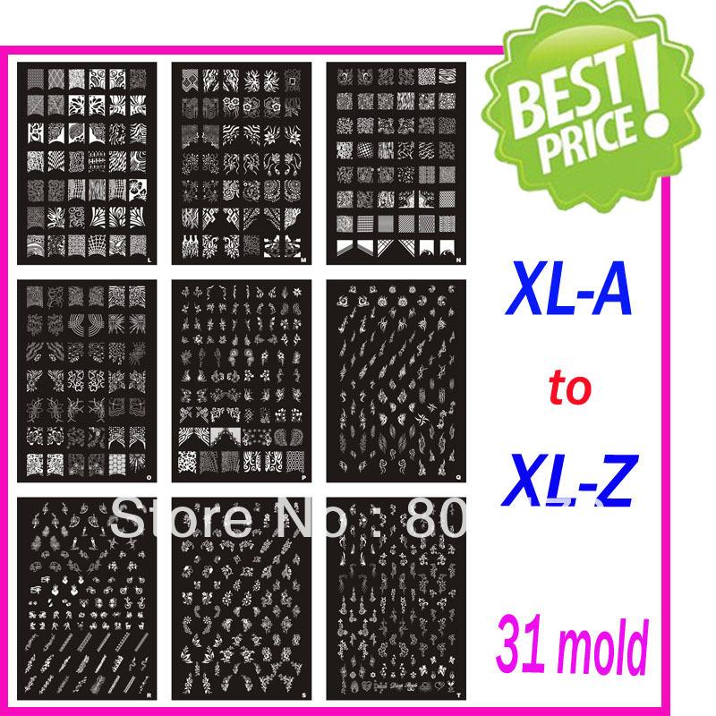 Free Shipping Christmas Holiday XL Medium Size Stamping Image Konad Plate Retail A-Z Print Nail Art Large BIG Template DIY(China (Mainland))