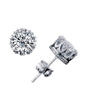 Free Shipping Imperial Crown Silver Earrings With AAA Swiss Crystal Fashion Jewelry/Wedding Jewelry nickel free wholesale price