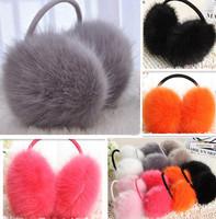 Free Shipping Colorful Faux Fur Fox Fur Alike Women Adult  Ear warmer Earlap  Wide Headband Winter Ear Muffs