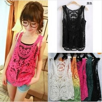 2013 summer women Blouses gauze embroidery crochet vest lace shirt solid lace cape hollow out womens blouse