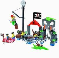 Free Shipping Enlighten Child designer 309 Pirates Skeleton Hamlet toys Building Block Set Brick Toy Toys for kid 3D Jigsaw