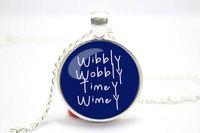 10pcs/lot Doctor Who 'Wibbly Wobbly Timey Wimey' Necklace Glass Silver Glass cabochon necklace