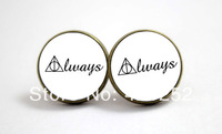 10pairs/lot  Harry Potter 'Always' Deathly Hallows Earrings in Antique Bronze Glass cabochon earrings