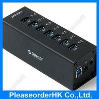 ORICO Black Aluminum 7 Port USB 3.0 Hub Super Speed with Power Adapter US Plug Hot-swap For Desktop Notebook Computer A3H7