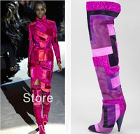 New 2014 Winter Fashion Women Over The Knee Patchwork Boots With Fur Genunie Leather High Heel Motorcycle Boots Big Size