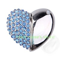 New Blue Crystal Heart Model 2GB 4GB 8GB 16GB 32GB USB 2.0 Memory Stick Flash Pen Drive+Free Necklace