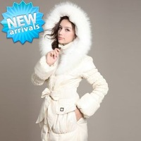 2013 Fashion women down jacket Winter Warm Lady duck down Long Coat Parka female hoodies natural raccoon fur collar outerwear