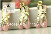 H98c MONNEL Best Selling 3 pcs Cute Peach Pink Ballet Shoes Crystal Charm Pendant
