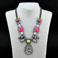 2013 Luxury Neon Vintage Sparkling  Fluorescence Bib Statement  Necklace Colorful Jewel Crystal Statement Chunky Necklace