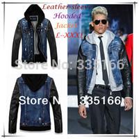 Top Quality Men Leather Sleeve Jacket Blue Color L--XXXL,  Fashion Slim Fit Denim Coat With Hoodie For Autumn & Winter  #JM09525