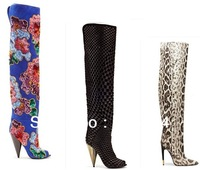 New  2013 Elegant Women Embroidered Floral  High Boot  Genuine Leather Straight  Women Winter Boots