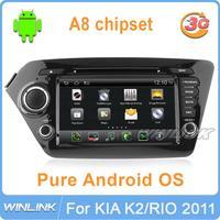 New Android 4.0 For KIA K2 RIO 2012 2011 Car DVD GPS 512M RAM Radio BT IPOD USB SD DVB-T 3G WiFi Navi Multimedia Audio Free Map