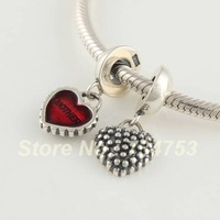 Love Mom Mother Love Heart Shape 925 Sterling Silver Dangle Spacer Charm Beads Jewelry, Suitable For Pandora Bracelet DIY