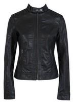 Free Shipping Pimkie washed PU leather motorcycle jacket Slim female short paragraph leather XS -XXXL