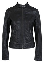 Free Shipping Pimkie washed PU leather motorcycle jacket Slim female short paragraph leather XS -XXXL