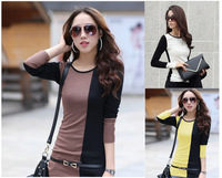 Free shipping 2013 Autumn New fashion women's O-Neck Long Sleeve Slim splicing ,Korea Cotton Top T-shirt
