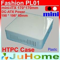 HTPC Mini-ITX case, 198*198*60mm, Ultra-thin, Plastic, DC-ATX power, home theatre computer, on Car computer case, Fashion PL01