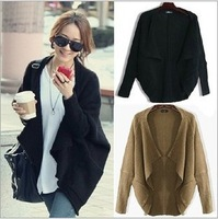 Free shipping 2014 New style Korean Autumn/Winter clothes women loose plus size wool knitted shawl cardigan sweater coat jacket