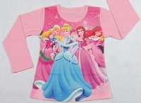 6 design Kids princess t-shirt beautiful girls painting picture kids t shirt cartoon long sleeve shirt 5pcs/lot free shipping
