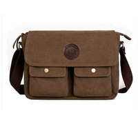 Wholesale mochila Man Shoulder Cross-Body Diagonal Package Leather And Canvas Messenger Bag Free Shipping Cheap New 2014  Retro