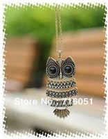 Free shipping  vintage bronze & silver owl pendant necklace Vintage Style Owl Necklaces