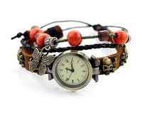 Sell like hot cakes! Women to restore ancient ways strap watches butterfly watches ladies fashion leather braided bracelet