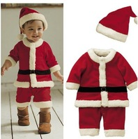 3set/lot hot sale red christmas baby boys girls clothing romper hat set kids winter long sleeve warmth clothing set TZ1405