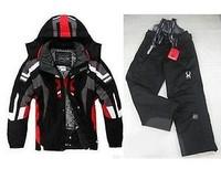 Black Men's ski suit Jacket Coat + Pants snowboard Clothing S-XXL EMS Shipping #
