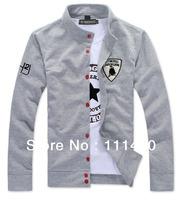 Men's Open Stitch Casual Hoodies Letter Embroidery Cardigan New Brand Mandarin Collar Coat Sweatshirts M-XXXL