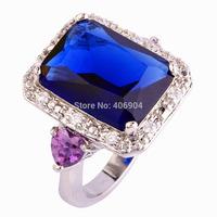 Wholesale Emerald Cut Sapphire Quartz & White Sapphire 925  Silver Ring Size 7 8 9 10 JEWELRY FOR PARTY'S