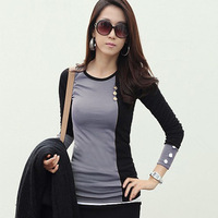 Women Slim long sleeve high collar bottoming shirt stitching factory direct large number of suppliers