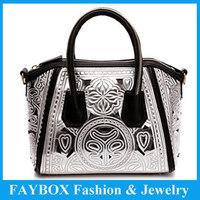 2013 Vintage Hollow Out Baroque Cutout Zipper Totem Carved Design Fashion Smile Tote Women Shoulder Bag Handbag