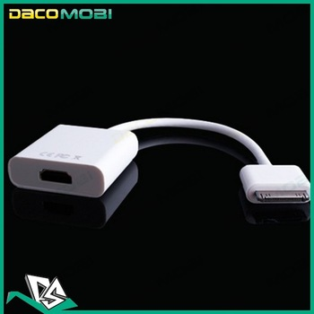 Dock Connector to HDMI 1080P TV Adapter Cable for iPhone 4 4s iPad 2 3 50pcs/Lot DHL Free Shipping