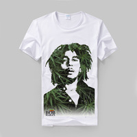 Bob Marley reggae leaf collage printing classic modal cotton t shirt