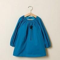 Retail 2014 children clothing,New Autumn girl's doll dress/blouse/loose long sleeved T-shirt/2-10Y child Korean lantern Tunics